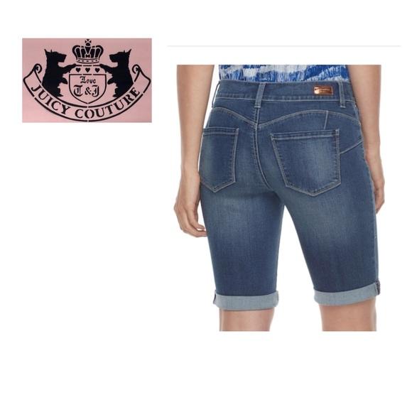 cb29e3eb57 Juicy Couture Bermuda Jean Shorts Flaunt It Sz 8